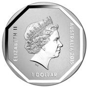 Australia 1 Dollar Emu Road Sign 2015  ELIZABETH II AUSTRALIA 2015 1 DOLLAR IRB coin obverse