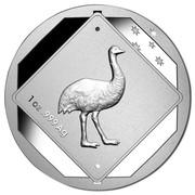 Australia 1 Dollar Emu Road Sign 2015  1 OZ .999 AG coin reverse