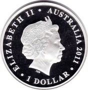 Australia 1 Dollar Great Barrier Reef 2011 ELIZABETH II AUSTRALIA 2011 1 DOLLAR IRB coin obverse