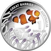 Australia 1 Dollar Great Barrier Reef 2015  GREAT BARRIER REEF AUSTRALIA 1 DOLLAR UNESCO coin reverse