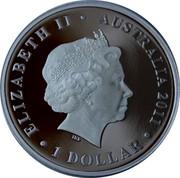Australia 1 Dollar Heard and Mcdonald Islands 2011 ELIZABETH II AUSTRALIA 2011 1 DOLLAR IRB coin obverse