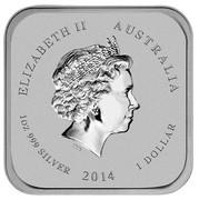 Australia 1 Dollar Horse series - Hongyuzuo Horse 2014  ELIZABETH II AUSTRALIA 1 OZ 999 SILVER 2014 1 DOLLAR IRB coin obverse