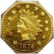 USA 1 Dollar Indian (Octagonal) 1876 KM# 14.1 *YEAR* coin obverse