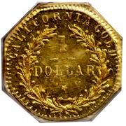 USA 1 Dollar Indian (Octagonal) 1876 KM# 14.1 CALIFORNIA GOLD 1 DOLLAR coin reverse