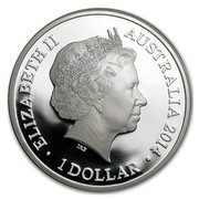 Australia 1 Dollar Kangaroo in Outback (F15 Privy) 2014  ELIZABETH II AUSTRALIA 2014 1 DOLLAR coin obverse
