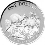 Australia 1 Dollar Kangaroos 2014 Proof ONE DOLLAR 1 OUNCE FINE SILVER coin reverse