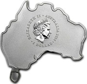 Australia 1 Dollar Koala (Map Shape) 2014  ELIZABETH II AUSTRALIA 2014 1 DOLLAR IRB coin obverse
