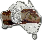 Australia 1 Dollar Koala (Map Shape) 2014  KOALA 1 OZ 999 SILVER P 2014 coin reverse