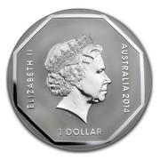 Australia 1 Dollar Koala Road Sign 2014  ELIZABETH II AUSTRALIA 2014 1 DOLLAR IRB coin obverse