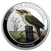 Australia 1 Dollar Kookaburra (Colorized) 2016 AUSTRALIAN KOOKABURRA 2016 1 OZ 999 SILVER P NM coin reverse