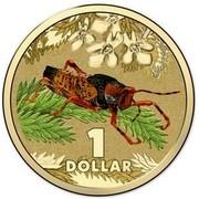 Australia 1 Dollar Leichhardt's Grasshopper 2014  1 DOLLAR coin reverse