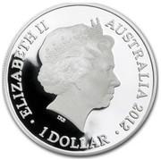 Australia 1 Dollar Lunar Dragon 2012 ELIZABETH II AUSTRALIA 2012 1 DOLLAR IRB coin obverse