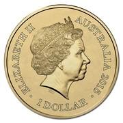 Australia 1 Dollar Lunar Goat (Aluminum-Bronze) 2015  ELIZABETH II AUSTRALIA 2014 IRB 1 DOLLAR coin obverse