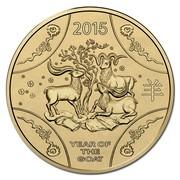 Australia 1 Dollar Lunar Goat (Aluminum-Bronze) 2015  2015 YEAR OF THE GOAT coin reverse