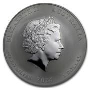 Australia 1 Dollar Lunar Horse (Lion Privy) 2014 ELIZABETH II AUSTRALIA 1 OZ 999 SILVER 2014 1 DOLLAR IRB coin obverse