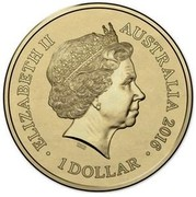Australia 1 Dollar Lunar Year of the Monkey 2016  ELIZABETH II AUSTRALIA 2016 1 DOLLAR IRB coin obverse