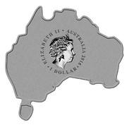 Australia 1 Dollar Map Shaped Coin Great White Shark 2016 ELIZABETH II AUSTRALIA 2016 1 DOLLAR IRB coin obverse