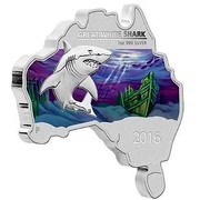 Australia 1 Dollar Map Shaped Coin Great White Shark 2016 GREAT WHITE SHARK 1 OZ 999 SILVER 2016 P coin reverse