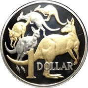 Australia 1 Dollar Mob of Roos 2014 Proof KM# 489.3 1 DOLLAR coin reverse