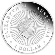 Australia 1 Dollar Opal Series Masked Owl 2014 KM# 2166 ELIZABETH II AUSTRALIA 1 DOLLAR coin obverse
