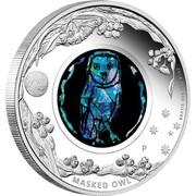Australia 1 Dollar Opal Series Masked Owl 2014 KM# 2166 2014 1 OZ 999 SILVER P MASKED OWL coin reverse