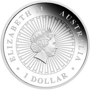 Australia 1 Dollar Opal Series Tasmanian Devil 2014  ELIZABETH II AUSTRALIA 1 DOLLAR IRB coin obverse