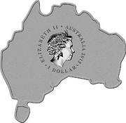 Australia 1 Dollar Redback Spider (Map Shape) 2015  ELIZABETH II ∙ AUSTRALIA 2015 ∙ 1 DOLLAR ∙ coin obverse