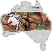 Australia 1 Dollar Redback Spider (Map Shape) 2015  REDBACK SPIDER 1OZ 999 SILVER P 2015 coin reverse