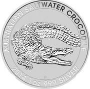 Australia 1 Dollar Saltwater Crocodile 2014 AUSTRALIAN SALTWATER CROCODILE 2014 1 OZ 999 SILVER P NM coin reverse