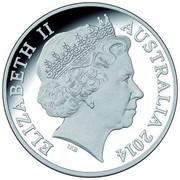Australia 1 Dollar Saltwater Crocodile - Graham 2014  ELIZABETH II AUSTRALIA 2014 IRB coin obverse