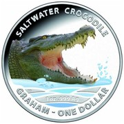 Australia 1 Dollar Saltwater Crocodile - Graham 2014  SALTWATER CROCODILE GRAHAM - ONE DOLLAR 1 OZ .999 AG TD coin reverse