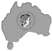 Australia 1 Dollar Saltwater Crocodile (Map Shape) 2014  ELIZABETH II AUSTRALIA 2014 1 DOLLAR IRB coin obverse