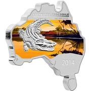 Australia 1 Dollar Saltwater Crocodile (Map Shape) 2014  SALTWATER CROCODILE 1 OZ 999 SILVER P 2014 coin reverse