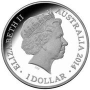 Australia 1 Dollar Spirited Horse 2014  ELIZABETH II AUSTRALIA 2014 1 DOLLAR IRB coin obverse