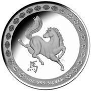 Australia 1 Dollar Spirited Horse 2014  1 OZ .999 SILVER CL coin reverse