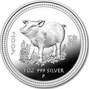 Australia 1 Dollar Standing Pig 2007 2007 1 OZ 999 SILVER P coin reverse