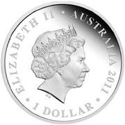 Australia 1 Dollar Tasmanian Wilderness 2011 ELIZABETH II AUSTRALIA 2011 1 DOLLAR IRB coin obverse