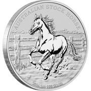 Australia 1 Dollar The Australian Stock Horse 2014  AUSTRALIAN STOCK HORSE P 2014 1 OZ 999 SILVER coin reverse