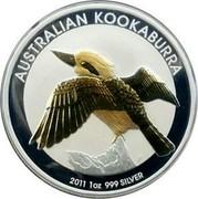 Australia 1 Dollar The Kookaburra (Gilded) 2011 AUSTRALIAN KOOKABURRA 2011 1 OZ 999 SILVER P coin reverse