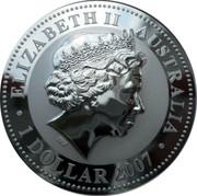Australia 1 Dollar The Ox (Gilded) 2007 ELIZABETH II AUSTRALIA 1 DOLLAR 2007 IRB coin obverse