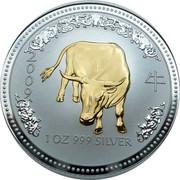 Australia 1 Dollar The Ox (Gilded) 2007 2009 1 OZ 999 SILVER coin reverse