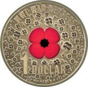 Australia 1 Dollar WWI War Heroes Red Poppy 2015  WW1-WAR HEROES 1 DOLLAR coin reverse