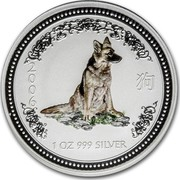 Australia 1 Dollar Year of the Dog - German Shepard (Colorized) 2006 2006 1 OZ 999 SILVER coin reverse