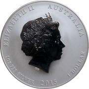 Australia 1 Dollar Year of the Goat (Lion Privy) 2015 ELIZABETH II AUSTRALIA 1 OZ 999 SILVER 2015 1 DOLLAR IRB coin obverse