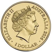 Australia 1 Dollar Year of the Horse 2014  ELIZABETH II AUSTRALIA 2014 1 DOLLAR IRB coin obverse