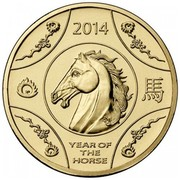 Australia 1 Dollar Year of the Horse 2014  2014 YEAR OF THE HORSE coin reverse