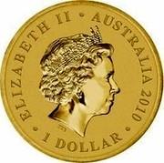 Australia 1 Dollar Year of the Tiger 2010 ELIZABETH II AUSTRALIA 2010 1 DOLLAR IRB coin obverse