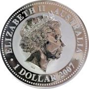 Australia 1 Dollar Year of the Tiger (Gilded) 2010 (2007) ELIZABETH II AUSTRALIA 1 DOLLAR 2007 IRB coin obverse