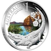 Australia $1 Northern Territory - Saltwater Crocodile 2010 AUSTRALIA $1 NOTHERN TERRITORY 1 OZ 999 SILVER P coin reverse
