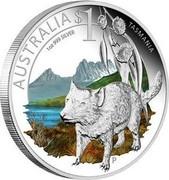 Australia $1 Tasmania 2010 AUSTRALIA $1 TASMANIA 1 OZ 999 SILVER P coin reverse